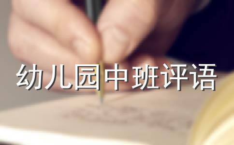 【精选】中班幼儿评语范文集锦6篇